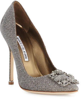 Manolo Blahnik Hangisi Crystal-Buckle Shimmery 115mm Pumps, Gold
