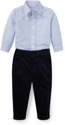 Ralph Lauren Woven Tattersall Button-Down Top w/ Velvet Pants, Size 6-24 Months
