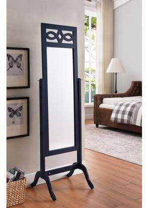 """Pilaster Designs Tia Navy Wood Contemporary Rectangle 65""""H Cheval Free Standing Floor Mirror For Bedroom, Living Room or Office"""