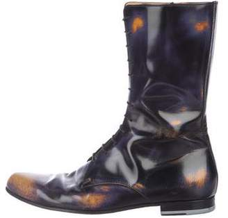 Gucci Leather Distressed Tall Officer Boots