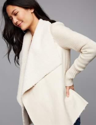 A Pea in the Pod Drape Front Faux Suede Maternity Jacket