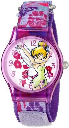 Disney Kids' W001254 Tween Tinker Bell Plastic Watch, Stretch Nylon Strap, Analog Display, Analog Quartz, Watch
