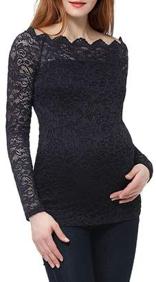 Kimi and Kai Lace Overlay Maternity Blouse