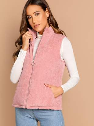Shein Zip Up Padded Corduroy Vest