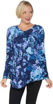Isaac Mizrahi Live! Floral Printed Knit Top with Asymmetric Hem