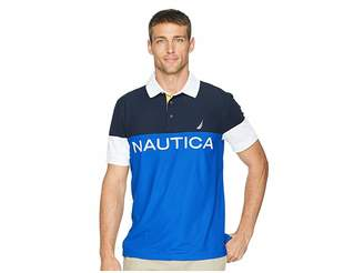 Nautica Navtech Short Sleeve Color Blocked Performance Polo