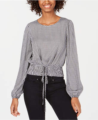 Love, Fire Juniors' Gingham Smocked-Waist Crop Top
