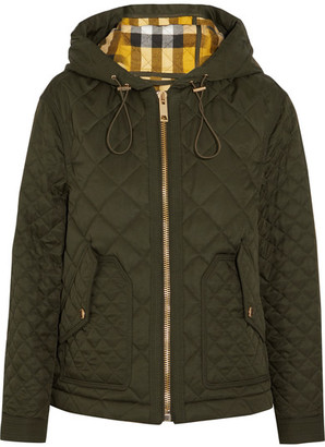 Burberry - Hooded Quilted Shell Jacket - Army green $850 thestylecure.com