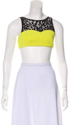Christian Dior Lace-Trimmed Crop Top Chartreuse Lace-Trimmed Crop Top