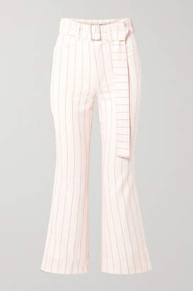 Orseund Iris Cropped Belted Pinstriped Wool-blend Flared Pants - Cream