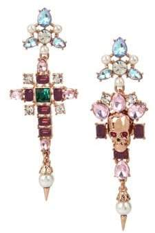 Betsey Johnson Duchess Of Betseyville Crystal Cluster Skull Mismatch Earrings