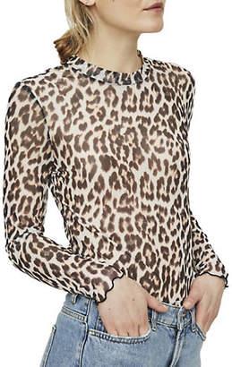 Vero Moda Tina Leopard Print Mesh Top