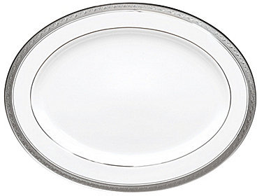 NoritakeNoritake Crestwood Etched Platinum Porcelain Oval Platter
