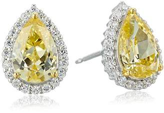 Sterling Silver Cubic Zirconia Pear Cut 9x6mm and White Cubic Zirconia Halo Stud Earrings