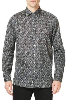 Etro Tree-Print Casual Button-Down Shirt