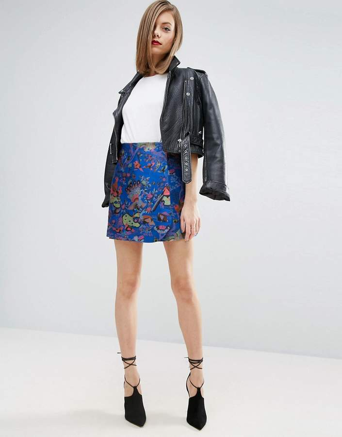 Asos ASOS Mini Wrap Skirt in Bird Jacquard