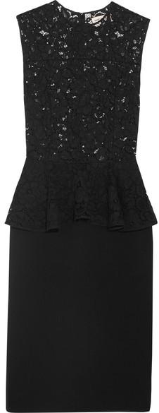 Saint LaurentSaint Laurent - Lace And Wool-blend Peplum Dress - Black