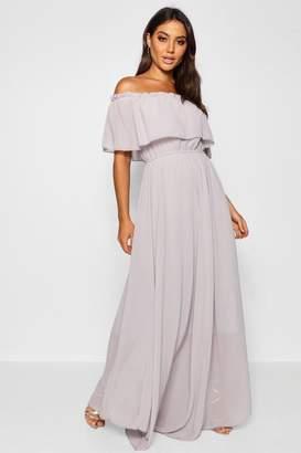 boohoo Chiffon Off The Shoulder Maxi Dress