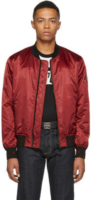 Givenchy Red Nylon Sleeve Patch Bomber Jacket