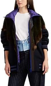 Kolor Women's Faux-Fur-Inset Bomber Jacket - Dark Navy