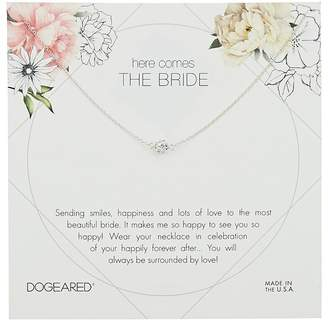 Dogeared Here Comes the Bride Flower Card Pave Sparkle Ball Necklace Necklace