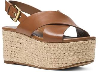 MICHAEL Michael Kors Jodi Leather Platform Wedge Espadrille Sandals