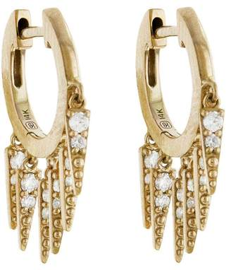 Sydney Evan Large Pavé Fringe Huggie Hoop Earrings - Yellow Gold