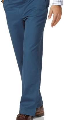Charles Tyrwhitt Bright blue classic fit flat front washed chinos