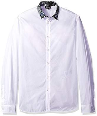 Just Cavalli Men's White Snake Print Collar Shirt