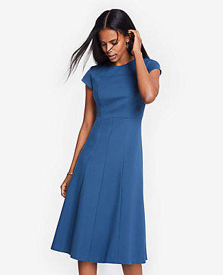 Ann Taylor Seamed Ponte Flare Dress