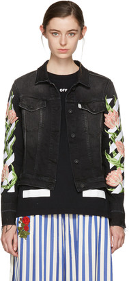 Off-White Black Denim Diagonal Tulips Slim Jacket $1,145 thestylecure.com