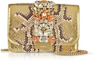 Gedebe Cliky Roccia Gold Python Clutch w/Crystals and Chain Strap