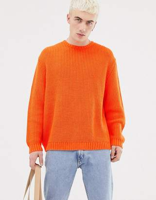 Asos DESIGN knitted oversized sweater in orange