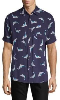 Dolphin Short-Sleeve Button-Down Shirt