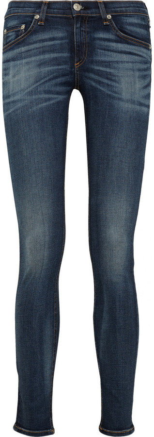 Rag & bone JEAN Faded low-rise skinny jeans