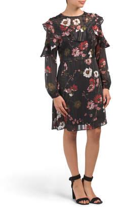 Peasant Sleeve Floral Print Dress