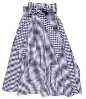 f87ada22a9c4 Lisa Marie Fernandez Gingham Midi Skirt