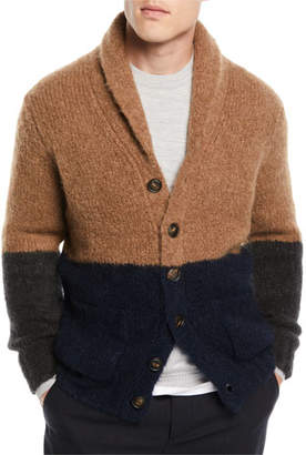 Brunello Cucinelli Men's Colorblock Shawl-Collar Cardigan