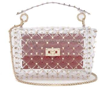 254d578281 Valentino Rockstud Quilted Pvc Shoulder Bag - Womens - Clear