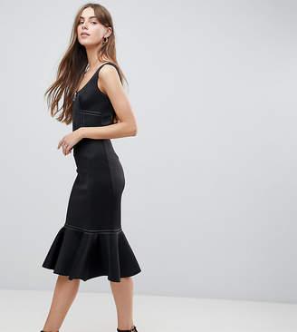 Asos Tall TALL Contrast Stitch Pencil Dress With Pep Hem