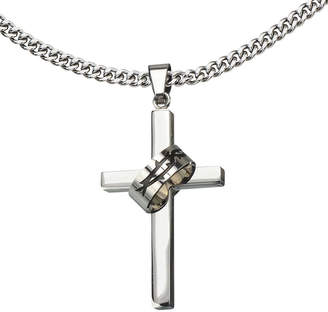 JCPenney FINE JEWELRY Inox Jewelry Mens Stainless Steel Cross Pendant Necklace