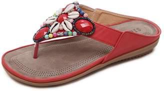 OCHENTA Women's T Strap Bohemian Beaded Summer Flat Thong Slide Slipper Sandals Black
