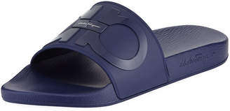 Salvatore Ferragamo Men's Gancini Pool Slide Sandals, Blue