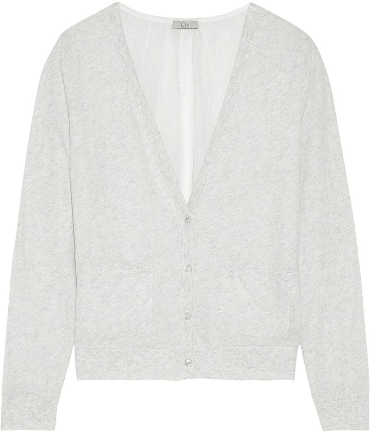 Clu CLU Paneled marled cotton and corded lace cardigan