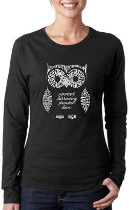 LOS ANGELES POP ART Los Angeles Pop Art Women's Long Sleeve Word Art T-Shirt -Owl