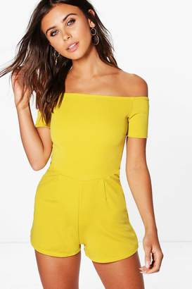 boohoo Petite Off The Shoulder Crepe Playsuit