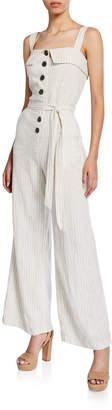 Dex Stripe Linen Button-Front Jumpsuit