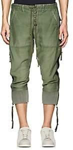 Greg Lauren Men's Grosgrain-Striped Cotton-Blend Lounge Pants-Olive