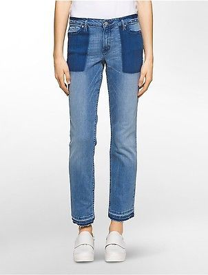 Calvin Klein Calvin Klein Womens Straight Leg Patch Pocket Jeans