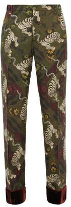 F.R.S For Restless Sleepers F.R.S – For Restless Sleepers Etere Tiger Print Velvet Trimmed Silk Trousers - Womens - Khaki